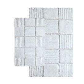 2-Piece Checkerboard Bath Mat Set in Ivory