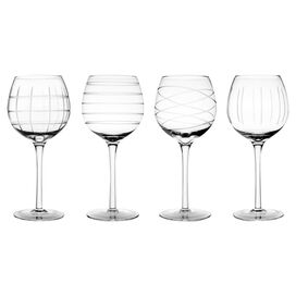 Medallion Goblet in Clear (Set of 4)