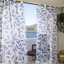 Feuille Indoor/Outdoor Curtain Panel in Blue