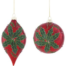 2-Piece Poinsettia Ornament Set