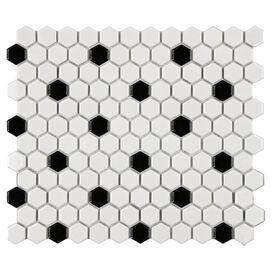 Hexagon Black & White Porcelain Tile (Set of 10)