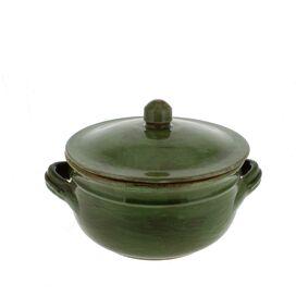 1.25-quart Cilantro Green Stoneware Two Handle Lidded Pot