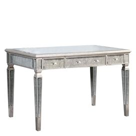 Felicity Mirrored Desk in Silver