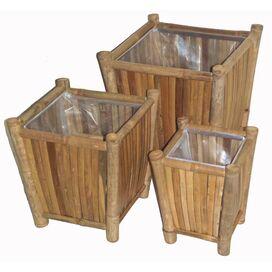 3-Piece Evan Bamboo Planter Set