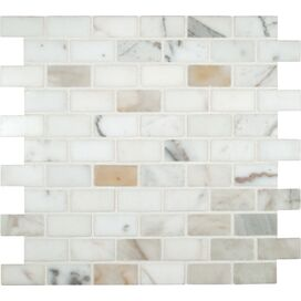 """Calacatta Gold Mounted 1"""" x 2"""" Marble Subway Tile in White"""