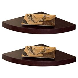 Damien Corner Shelf in Espresso (Set of 2)
