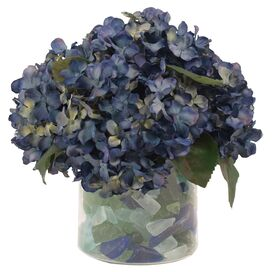 Faux Purple Hydrangea with Sea Glass