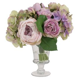 Faux Cabbage Rose & Hydrangea