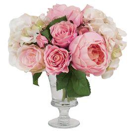Faux Rose & Hydrangea in Urn