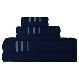 6-Piece Jami Egyptian Cotton Towel Set in Moonlight Blue