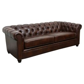 "Richard 86"" Tufted Leather Sofa"