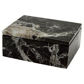 Asteria Trinket Box in Black Zebra Marble