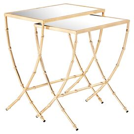 2-Piece Sterling Mirrored Nesting Table Set