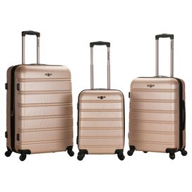 3-Piece Athens Rolling Luggage Set in Champagne