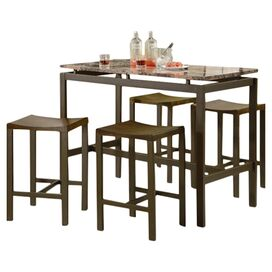 5-Piece Avery Counter Height Dining Set in Brown