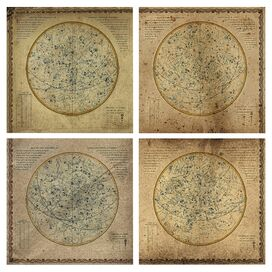 Oliver Gal & Co. Celestial Map XVI Century II Canvas Print (Set of 4)