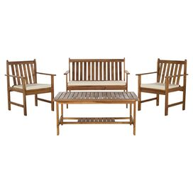 4-Piece Burbank Acacia Patio Seating Group Set in Teak Look