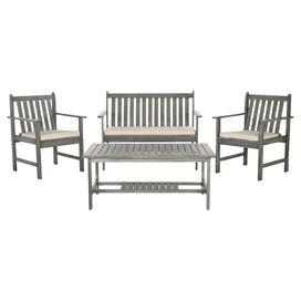 4-Piece Burbank Acacia Patio Seating Group Set in Grey Wash