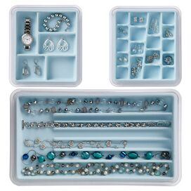 3-Piece Emily Jewelry Organizer Set in Ice Blue