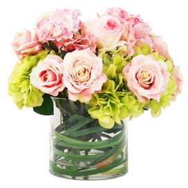 Faux Rose & Hydrangea in Glass Vase