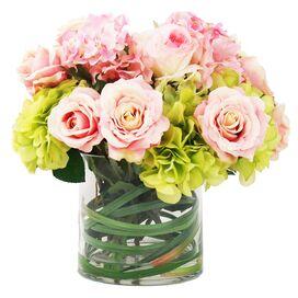 Faux Rose & Hydrangea in Glass Vase