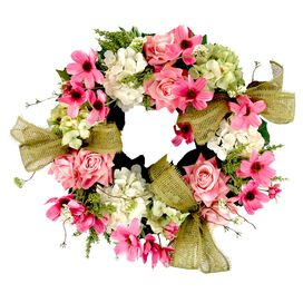 Faux Mixed Floral Wreath