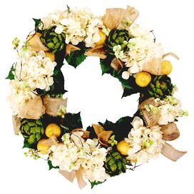 Faux Hydrangea & Artichoke Wreath