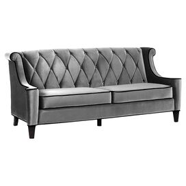 Barrister Velvet Sofa in Grey