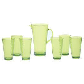 7-Piece Darcy Acrylic Cup & Pitcher Set in Lime Green