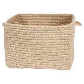 Braided Wool Storage Basket in Neutral