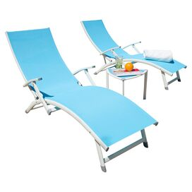 3-Piece Selena Patio Chaise Set in Mist