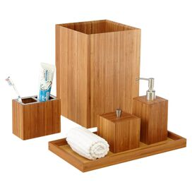 5-Piece Bamboo Bath Accessory Set