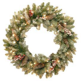 Pre-Lit Faux Fir Wreath with Snow