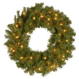 Pre-Lit Faux Spruce Wreath in Clear