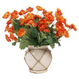 Faux Ranunculus in Ceramic Vase