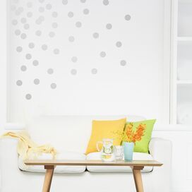 """2"""" Dot Wall Decal in Silver (Set of 72)"""