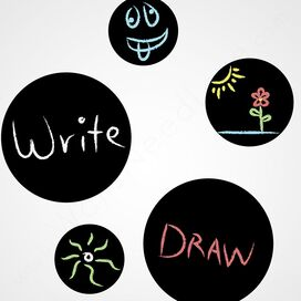 5-Piece Removable Chalkboard Dot Wall Decal
