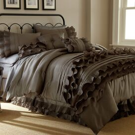 Stacia Embroidered Comforter Set in Brown
