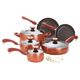 15-Piece Enameled Cookware Set in Coral