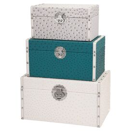 3-Piece Claire Trunk Set in Teal