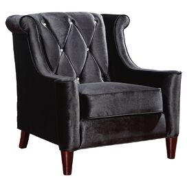Barrister Velvet Arm Chair in Black