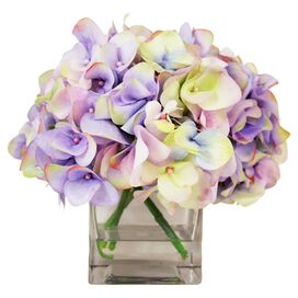 Faux Multicolor Hydrangea in Vase