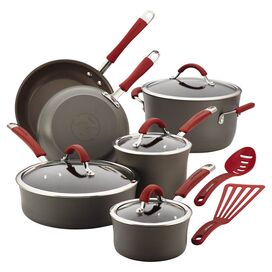 Rachael Ray 12-Piece Cucina Cookware Set in Red