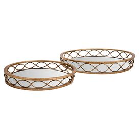 2-Piece Rochelle Mirrored Tray Set