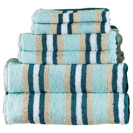 6-Piece Calvin Towel Set in Seafoam