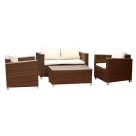 4-Piece Hampton Patio Seating Group in Light Brown & Beige