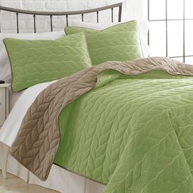 3-Piece Kayla Coverlet Set in Sage & Taupe