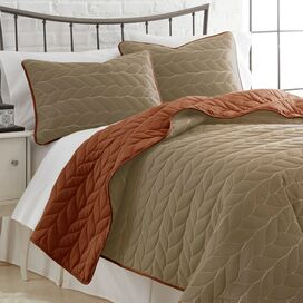 3-Piece Kayla Coverlet Set in Taupe & Snap