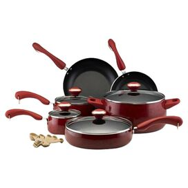 15-Piece Signature Porcelain Cookware Set in Red
