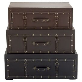 3-Piece Anastasia Leather Storage Trunk Set